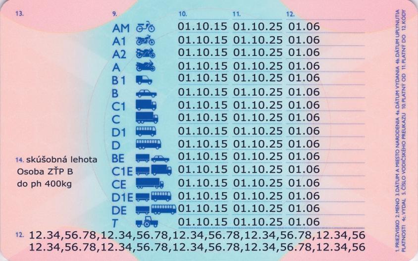 vodičský preukaz vzor